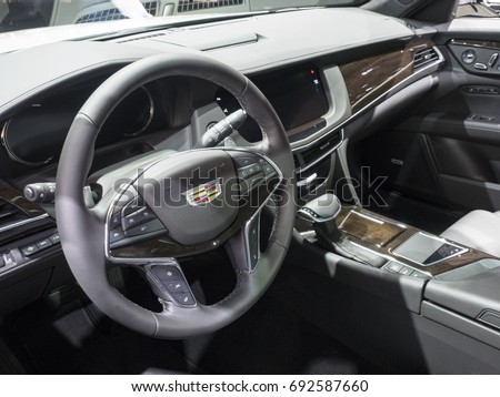 NEW YORK, US - APRIL 12, 2017: Cadillac CT6 on display during the 2017 New York International Auto Show held at the Jacob Javits Center. #692587660