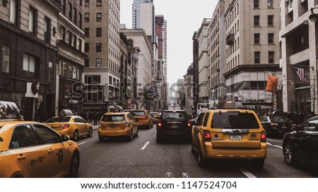 New York, USA - April 18, 2017: Streets of New York City - New York is also the most densely populated major city in the United States. With an estimated 2015 population of 8.5 million #1147524704