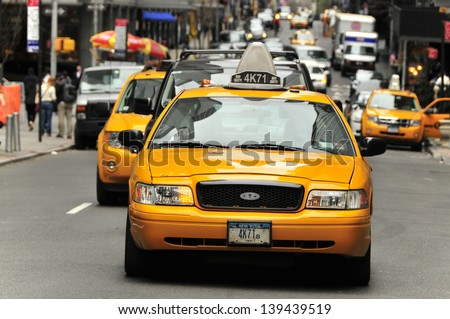 NEW YORK USA APRIL 11 Taxis in the traffic Manhattan April 11 2012 in New York City The city is planning to replace its fleet of various kinds of taxis with one model