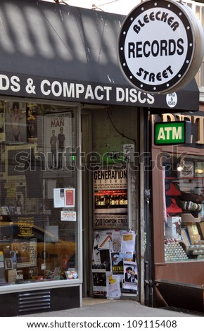 NEW YORK, USA - APRIL 9: The iconic Bleeker Street record store - the home of the New York music industry on April 09, 2008 in New York.