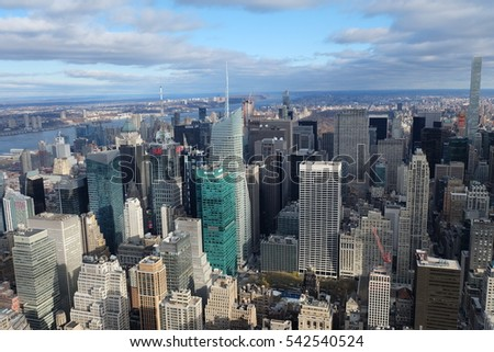 NEW YORK, USA - DECEMBER 3, 2016 - aerial view of the skyscrapers of New York from empire state building. #542540524