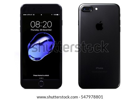 New York, USA - December 28, 2016: Brand new black Apple iPhone 7 Plus front side and backside isolate on background with clipping path.