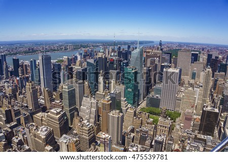 NEW YORK - USA, JUNE 13 2016: New York City Manhattan, panorama aerial view, Architectural modern buildings at lower Manhattan. Skyline view at New York City - United States of America. #475539781