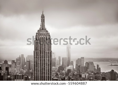 NEW YORK, USA - May 03, 2016: New York skyline. Aerial view over Manhattan with Empire State Building and World Trade Center. Sepia toned image. Old photo stylization.