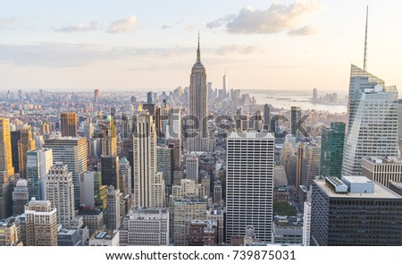 new york ,usa. 8-24-17: new york skyline in the evening. #739875031