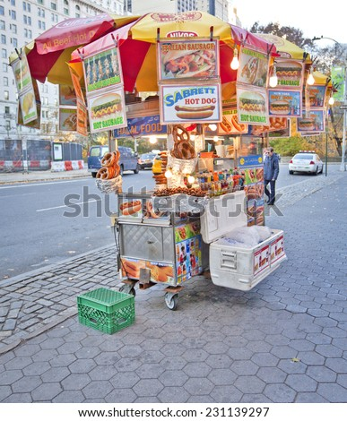 NEW YORK, USA - NOVEMBER 13th, 2014: Street food vendor as seen all over Manhattan offering a variety of street foods.