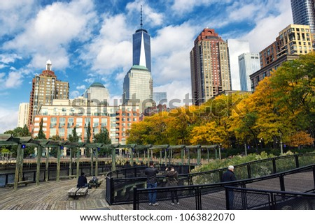 NEW YORK, USA - OCTOBER, 2015: South Cove park with a view of Manhattan downtown skyscrapers #1063822070