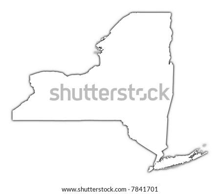 New York Usa Outline Map