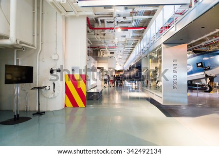 NEW YORK, USA - SEP 25, 2015: Interior of the USS Intrepid (The Fighting I), one of 24 Essex-class aircraft carriers built during World War II for the United States Navy #342492134