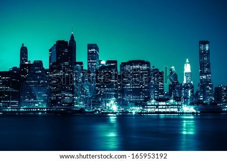 New York - view of Manhattan Skyline by night