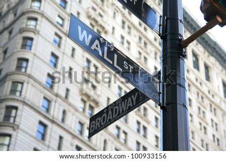 New York Wall street and Broadway street sign #100933156