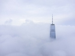 New York World Trade Centre in foggy day, aerial photography
