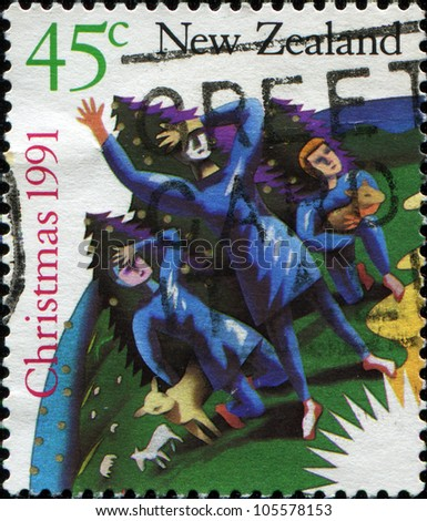NEW ZEALAND - CIRCA 1991: A greeting Christmas stamp printed in New Zealand shows Shepherds Looking into the Sky, circa 1991