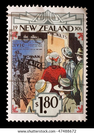 """NEW ZEALAND - CIRCA 1993: A New Zealand stamp (Scott 2008 1150) commemorates the decade of the 1930s, specifically the advent of the """"talkies"""", circa 1993"""