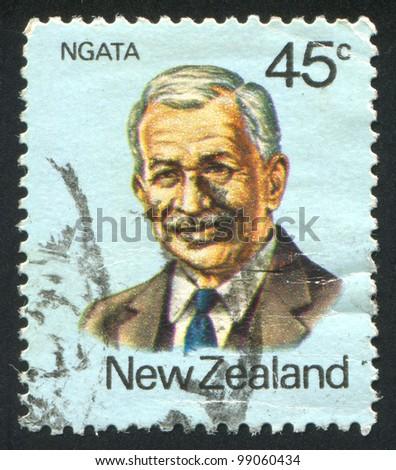 NEW ZEALAND - CIRCA 1980: A stamp printed by New Zealand, shows Maori Leader Apirana Turupa Ngata, circa 1980