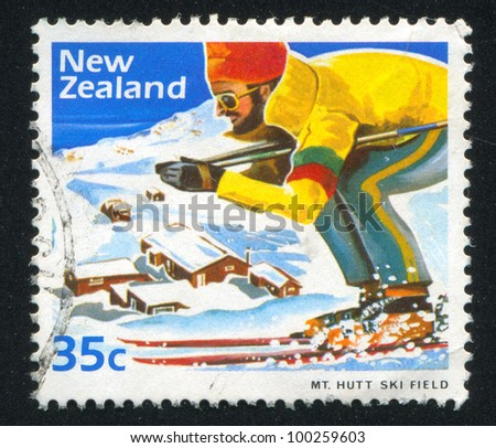NEW ZEALAND - CIRCA 1984: A stamp printed by New Zealand, shows Skier at Mount Hutt Ski Field, circa 1984