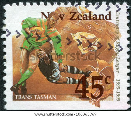 NEW ZEALAND - CIRCA 1995: A stamp printed in New Zealand, is dedicated to the 100th anniversary of Rugby League, shows a game between the Australia - New Zealand (Trans Tasman), circa 1995