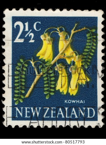 NEW ZEALAND - CIRCA 1964: A stamp printed in New Zealand show kowhai tree, which is endemic to New Zealand, series, circa 1964