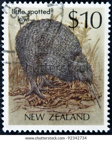 NEW ZEALAND - CIRCA 1988: A stamp printed in New Zealand shows little spotted Kiwi, Apteryx australis, circa 1988