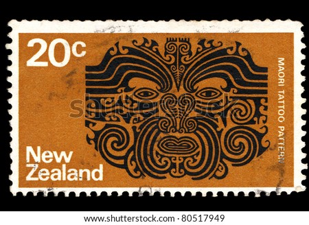 NEW ZEALAND - CIRCA 1970: A stamp printed in New Zealand shows Maori tattoo pattern, circa 1970