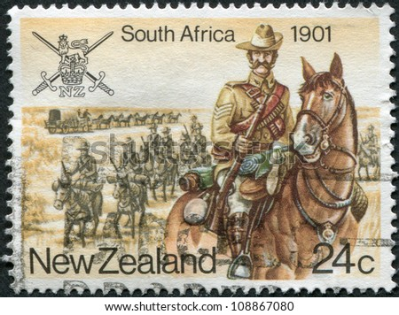 NEW ZEALAND - CIRCA 1984: Postage stamps printed in New Zealand, is devoted to Military History, South Africa, Anglo-Boer War, shows trooper, circa 1984