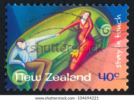 NEW ZEALAND - CIRCA 1998: stamp printed by New Zealand, shows Couple Seated on Sofa, circa 1998