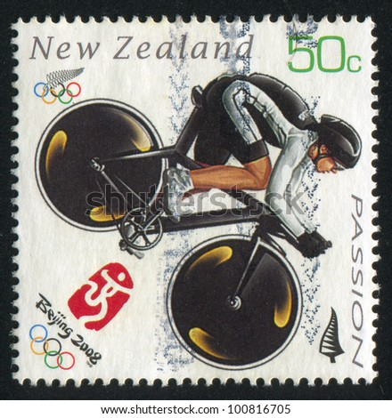 NEW ZEALAND - CIRCA 2008: stamp printed by New Zealand, shows Cyclist at Summer Olympics in Beijing, circa 2008