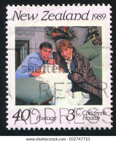 NEW ZEALAND - CIRCA 1989: stamp printed by New Zealand, shows Duke and Duchess of York, Princess Beatrice, circa 1989