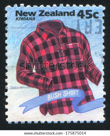 New Zealand - Circa 1994: Stamp Printed By New Zealand, Shows Kiwiana, Bush Shirt, Circa 1994