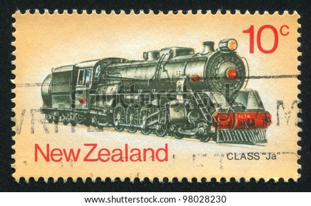 NEW ZEALAND - CIRCA 1973: stamp printed by New Zealand, shows locomotive, circa 1973 - stock photo