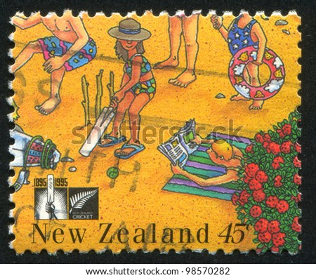 NEW ZEALAND - CIRCA 1995: stamp printed by New Zealand, shows People on the Beach, circa 1995