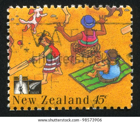 NEW ZEALAND - CIRCA 1995: stamp printed by New Zealand, shows People Playing Cricket on the Beach, circa 1995