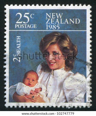 NEW ZEALAND - CIRCA 1985: stamp printed by New Zealand, shows Princess Diana and Prince Henry, circa 1985