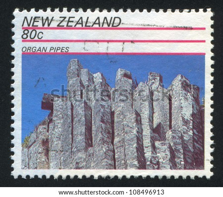 NEW ZEALAND - CIRCA 1991: stamp printed by New Zealand, shows Rock Formations, Organ Pipes, circa 1991