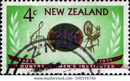 NEW ZEALAND - CIRCA 1971: Stamp printed in New Zealand dedicated 50 years of Country Women\'s Institute, circa 1971