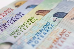 New Zealand currency fanned out ($5, $10, $20, $50, $100)