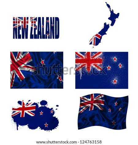 New Zealand flag and map in different styles in different textures
