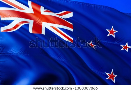 New Zealand flag. 3D Waving flag design. The national symbol of New Zealand, 3D rendering. National colors and National flag of New Zealand for a background. Oceania sign on smooth silk