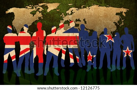 new zealand - flag style of people silhouettes and world map background