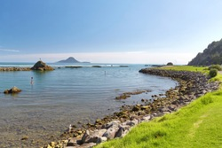 New Zealand landscape, Bay of Plenty, Whakatane, view towards Whale Island