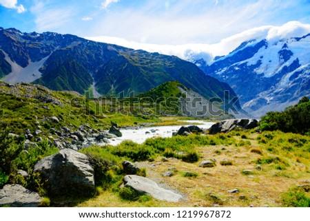 New Zealand Mount Cook. Hooker valley track. #1219967872
