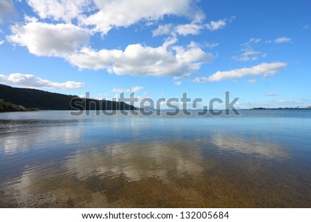 New Zealand, North Island. Beautiful clouds over Lake Taupo. Seen from Waihi Scenic Reserve.