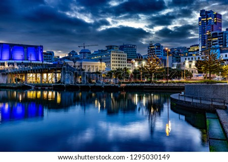 New Zealand, North Island. Wellington, the capital city. Night scenery of the Waterfront