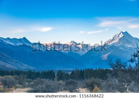 New Zealand scenic mountain landscape shot at Mount Cook National Park. #1156368622