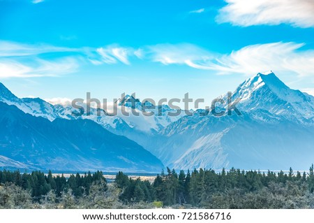 New Zealand scenic mountain landscape shot at Mount Cook National Park. #721586716