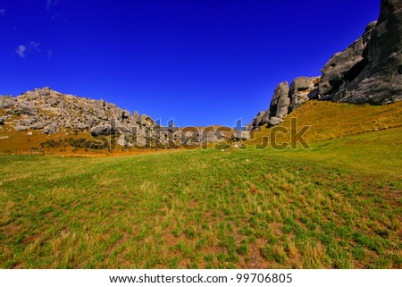 new zealand south island boulder landscape - stock photo