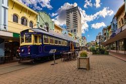 New Zealand, South Island. Christchurch, Canterbury Region. Restored heritage tram at New Regent Street