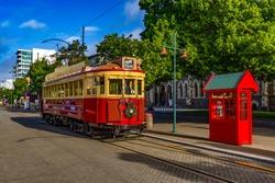 New Zealand, South Island. Christchurch, Canterbury Region. Restored heritage tram at Worcester Boulevard