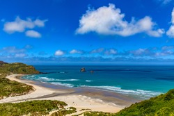New Zealand, South Island. Otago Peninsula, Sandfly Bay. There is Lion's Head Rock, rock formation behind