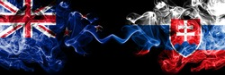 New Zealand vs Slovakia, Slovakian smoky mystic flags placed side by side. Thick colored silky abstract smoke flags